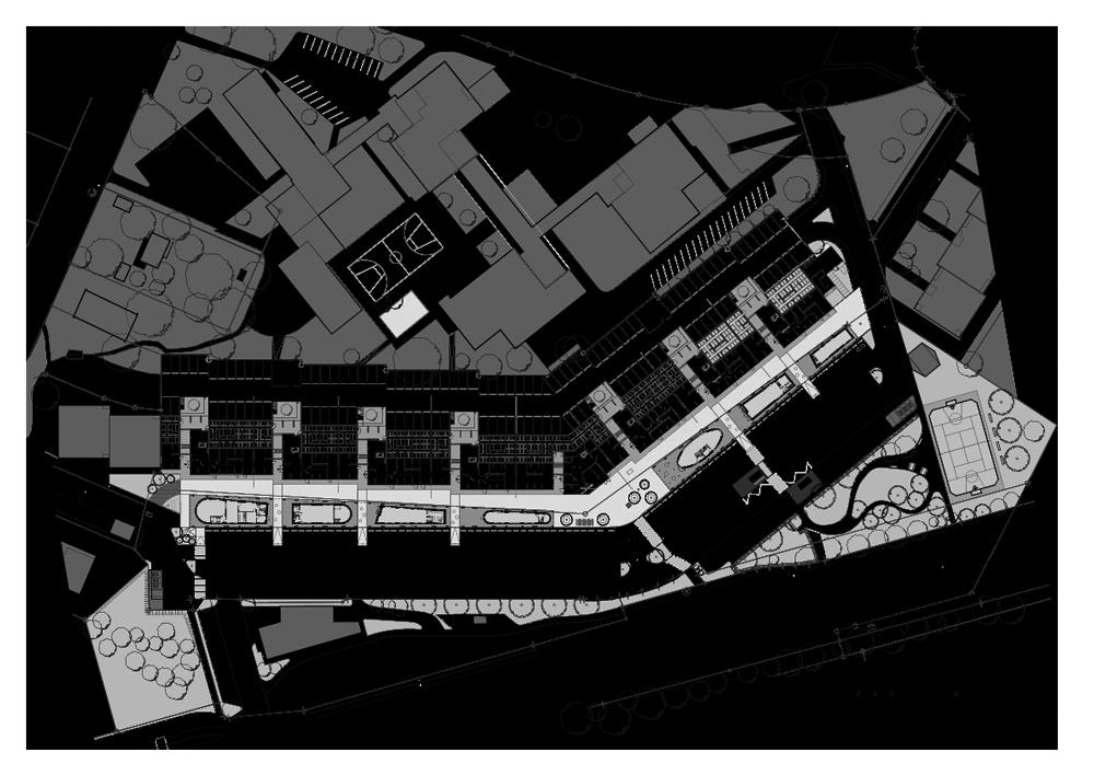 Les édicules le long du bâtiment forment une « rue », nouveau lieu de rencontre pour les habitants.